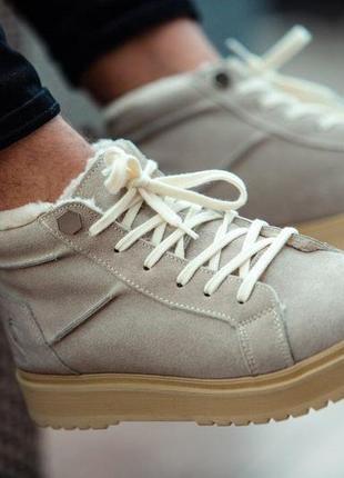 Натуральные зимние ботинки на меху мужские