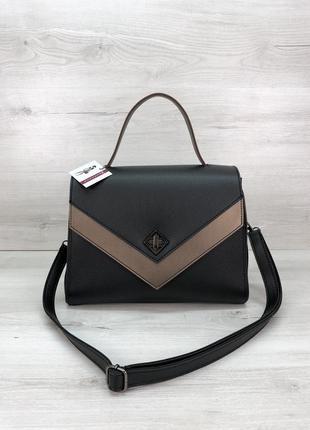 Женская стильная сумочка черная с бронзой