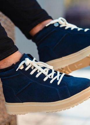 Зимние натуральные тёплые стильные мужские ботинки на меху