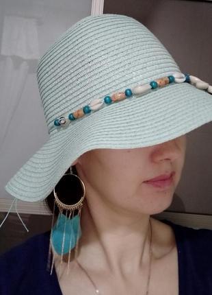 Шляпа летняя панама пляжная с ракушками