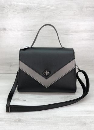 Женская стильная сумочка черная с серебром