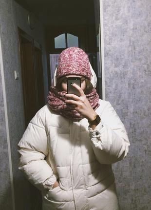 Комплект шапка и шарф розовый