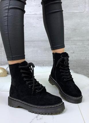 Зимние ботинки мартинсы, замшевые высокие ботинки на толстой п...