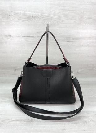 Модная женская сумка черного с красным цвета