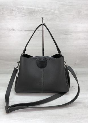 Модная женская сумка серого цвета