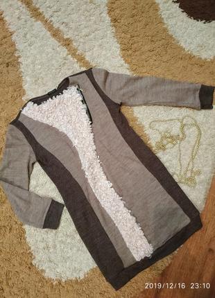 Стильное теплое платье прямого кроя, универсал 44-46-48