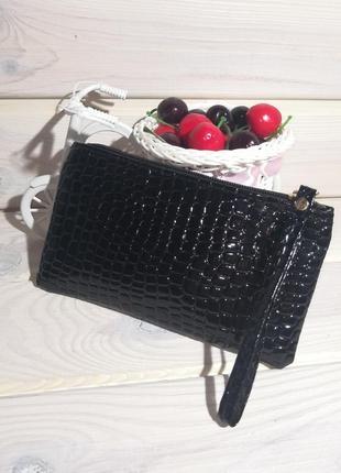 Черный клатч кошелек косметичка сумка лаковый на молнии с петл...
