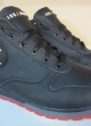 Мужские кожаные зимние ботинки/кроссовки jordan