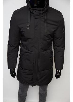 Куртка мужская удлиненная зимняя chs soft shell 727 черная