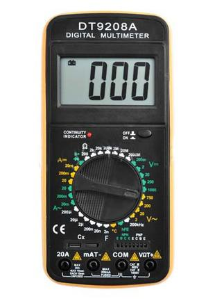 Мультиметр цифровой DT9208А, щупы и термопара, тестер