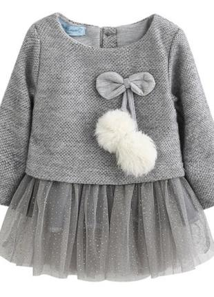 Платье тёплое фатин пушок модное нарядное
