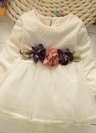 Платье нарядное фатин цветы