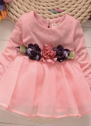 Платье фатин сетка цветы нарядное