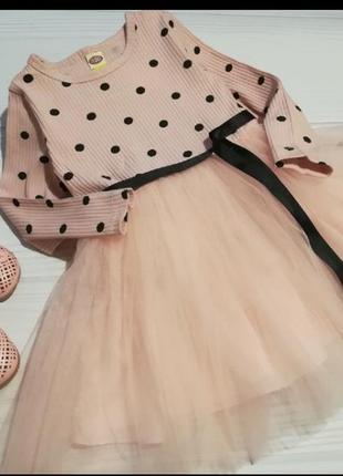 Платье фатин нарядное горох