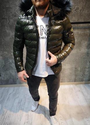 Мужская нейлоновая куртка stone island haki / парка куртка зим...