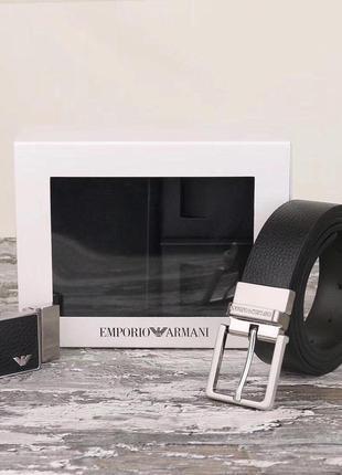 Мужской ремень emporio armani + 2 пряжки в подарочном наборе (...