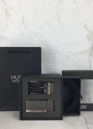 Мужской ремень hugo boss + 2 пряжки в подарочном наборе (арт. ...