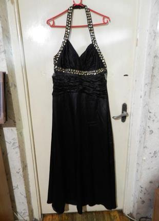 Шёлк-65%- платье в пол,нарядное,расшитое камнями,пин-ап,бол.14...