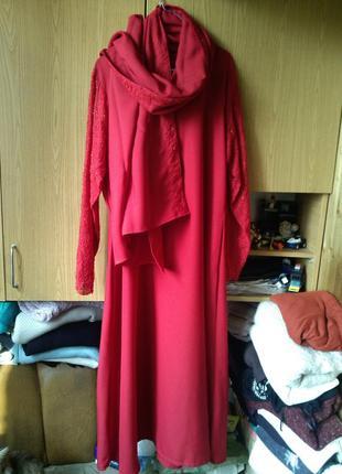 Нарядное,красное (фото 4) платье,с палантином,расшитое бисером...