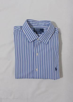 Рубашка белая в голубую полоску 'ralph lauren' 52-54р