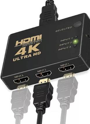HDMI свитч 4K переключает с 3 входов на 1 экран ТВ switcher св...