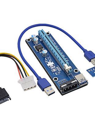 Райзер PCI-Express PCI-E 1X на 16X USB 3.0 Molex V006