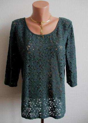 Темно-зеленая кружевная гипюровая блуза next