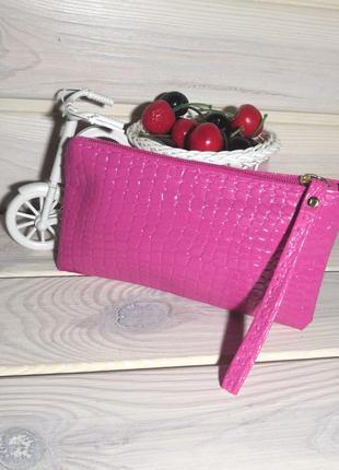 Розовый клатч кошелек косметичка сумка лаковый на молнии с пет...