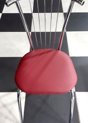 Стул Мартин, каркас хром, обивка сидения бордовый кожзам