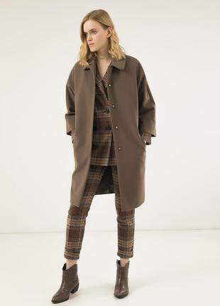 Шерстяное женское пальто season бланш оливкового цвета
