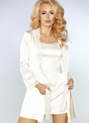 Jacqueline комплект набор халат с пеньюаром и стринги молочный...