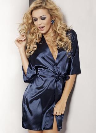 90 dkaren синий атласный женский халат на поясе в красивой упа...