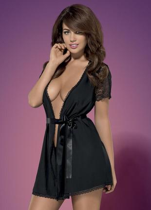 Miamor robe obsessive черный халатик с коротким рукавом