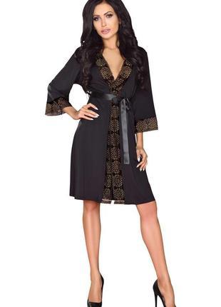 Finvarra черный халат с кружевом пояс и стринги в комплекте
