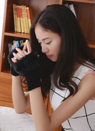 Женские перчатки без пальцев, с мехом, митенки (Черные)