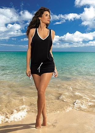 Пляжный костюм платье туника черная на бретелях m-313 elsa marko