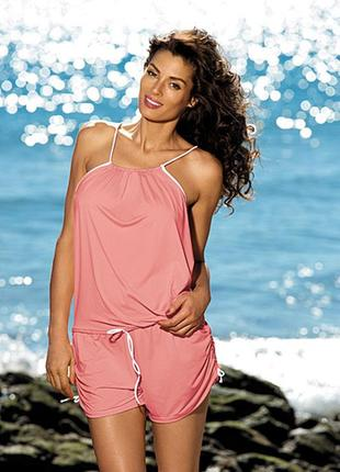 Пляжный костюм комбинезон розовый на бретелях m-312 leila marko