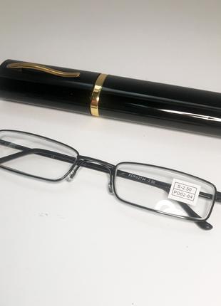 Очки для зрения -2.5 в футляре, очки для зрения унисекс, черный
