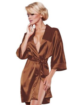 90 dkaren кроричневый атласный женский халат на поясе в красив...
