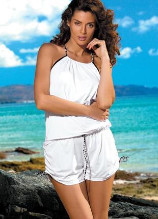 Белый пляжный костюм комбинезон на бретелях m-312 leila marko