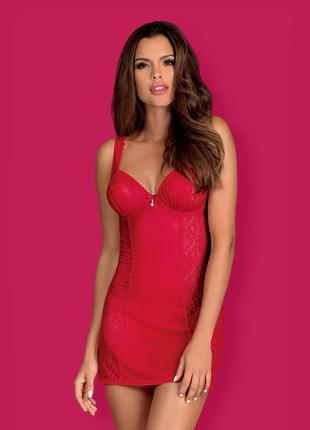 Rougebelle chemise obsessive красная кружевная сорочка