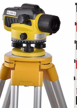 Оптический нивелир Wiseman AL12-32 + штатив + рейка 5 м