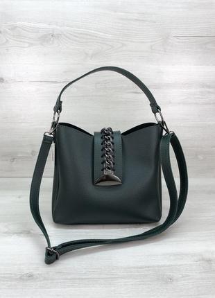 Женская сумочка с цепочкой зеленая