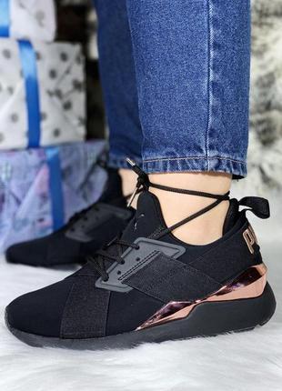Шикарные женские кожаные кроссовки puma black 😍
