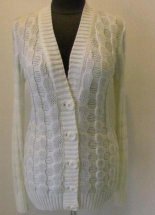 Кофта женская вязанная зимняя пиджачного типа на пуговицах без...