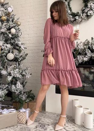 5 цветов! нежное пудровое шифоновое платье розовое
