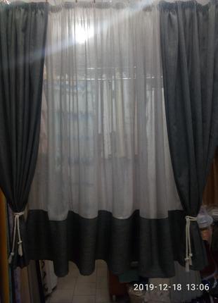 Комплект шторы лен готовый