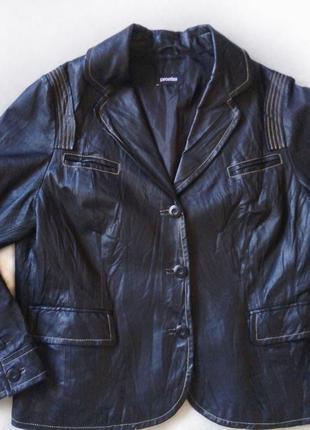 Кожаный черный пиджак куртка большой размер