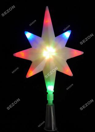 Верхушка звезда на елку светодиодная 16LED, мультиколор