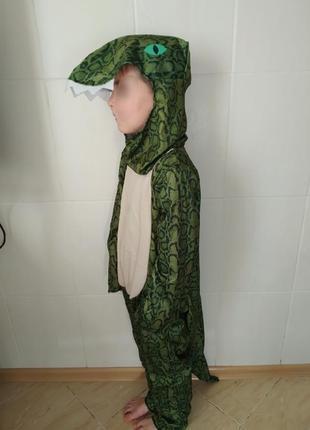 Карнавальный новогодний костюм детский крокодил на 7-8 лет